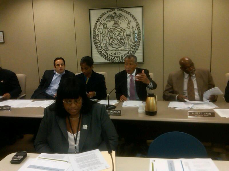 Education Committee Chairman Robert Jackson (second from right) criticizing the D.O.E.'s organization of its public schools into networks at a council hearing
