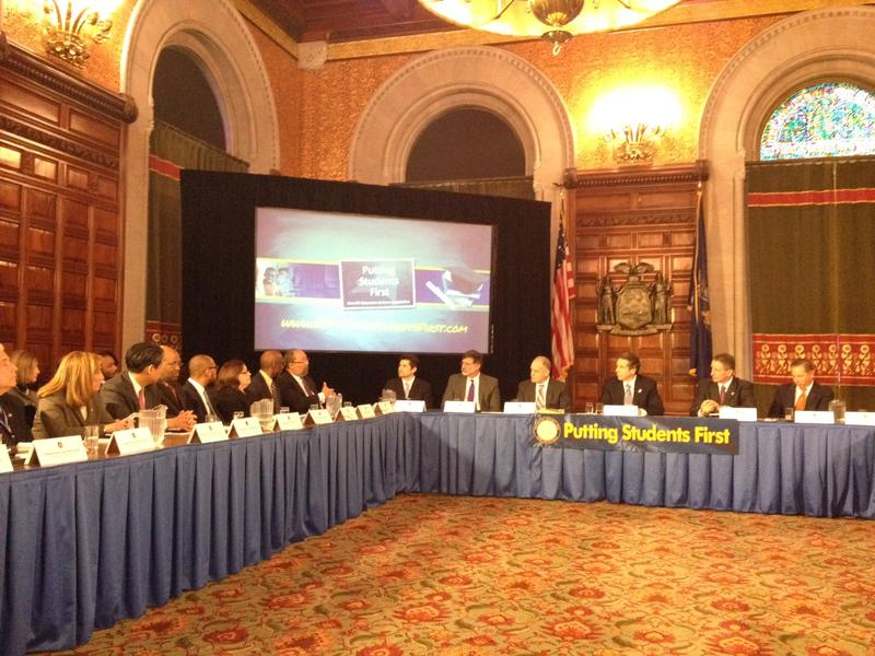 Education Commission members presenting recommendations to Governor Andrew Cuomo