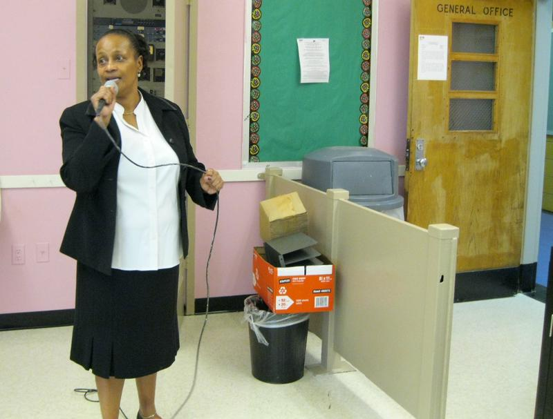 P.S. 288 principal Joelene-Lynette Kinard makes announcements to the school over the loudspeaker -- something she missed while her school was relocated.