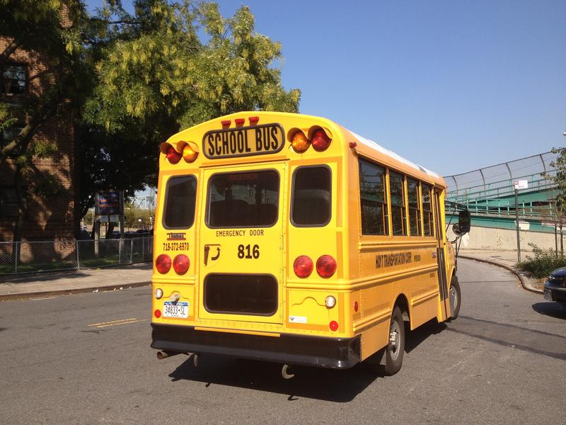 A bus for special education students leaves P.S. 206 in Manhattan.