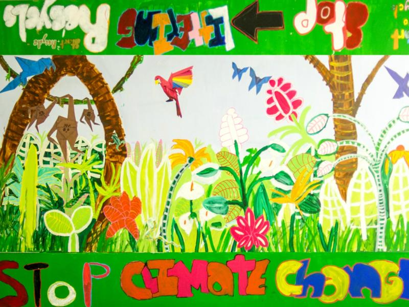 Students at the Robert E. Peary School in Queens took on the issue of climate change for their table project.