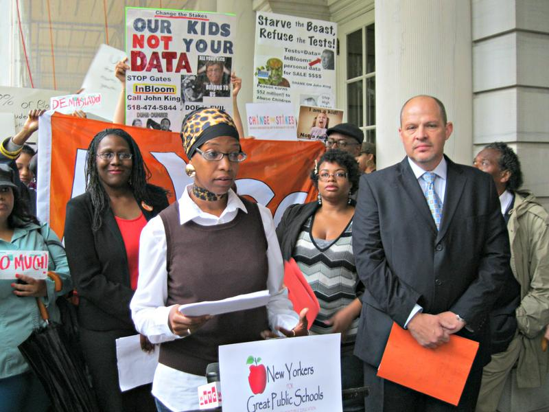 Zakiyah Ansari of New Yorkers for Great Public Schools and Michael Mulgrew,  teachers' union president, release a proposal to put less emphasize on standardized tests.