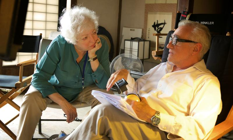 "Thelma Schoonmaker and Martin Scorsese on the set of ""Silence"""