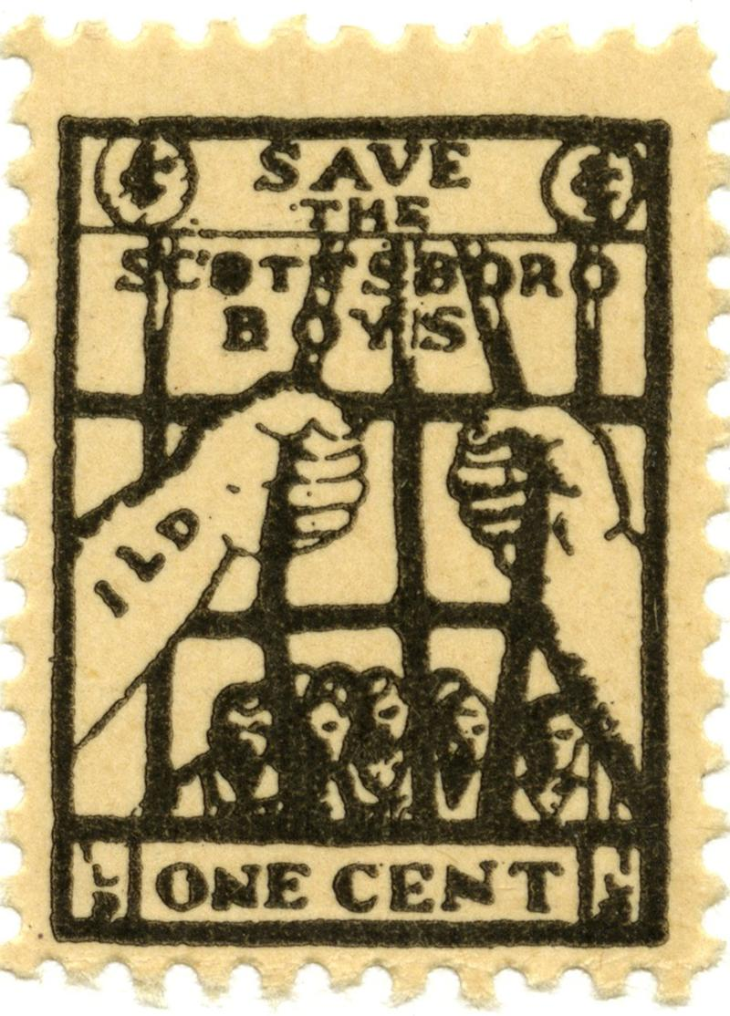 Stamps like this one were sold by the International Labor Defense (ILD) to raise money for the Scottsboro Boys legal case.