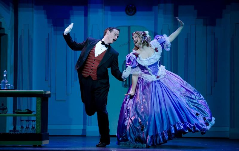 """Aspiring NYC actor Madee Seagle performing as Mrs. Tottendale in a production of """"The Drowsy Chaperone."""""""