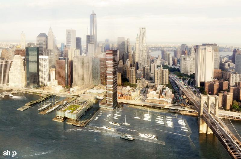 Rendering of a High-Rise Proposed for the South Street Seaport
