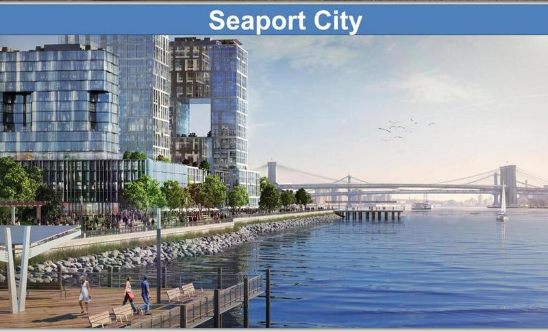 "A visualization of Mayor Bloomberg's proposed ""Seaport City,"" a multi-purpose levee and community along the East River."