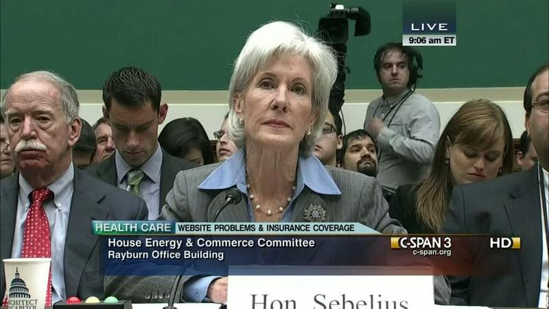 Health & Human Services Secretary Kathleen Sebeilus testifying before the House Energy & Commerce Committee. October 30, 2013
