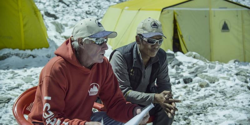 Sherpa Phurba Tashi (right) with Russell Brice, a leader of foreign expeditions to Mount Everest.