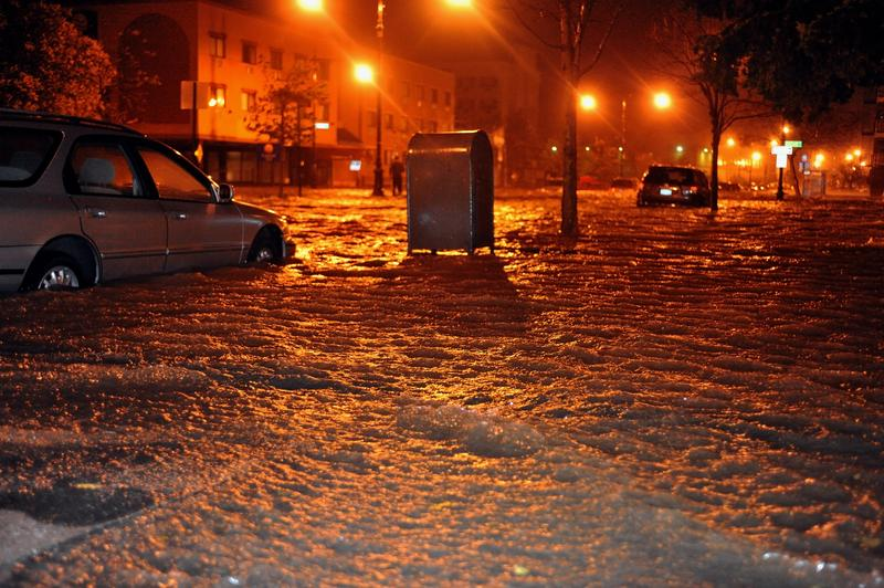 Flooded streets, caused by Hurricane Sandy, are seen on October 29, 2012, in the corner of Brigham street and Emmons Avenue of Brooklyn NY, United States.
