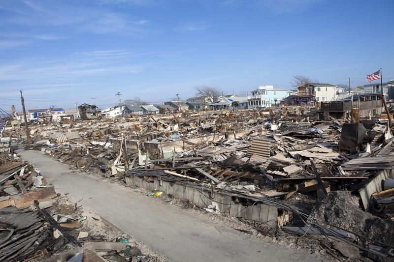Destroyed homes during Hurricane Sandy in the flooded neighborhood at Breezy Point in Far Rockaway area on November 12, 2012 in New York City, NY
