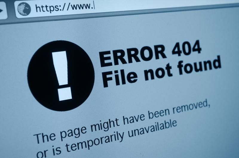 404 error sign in an Internet browser.