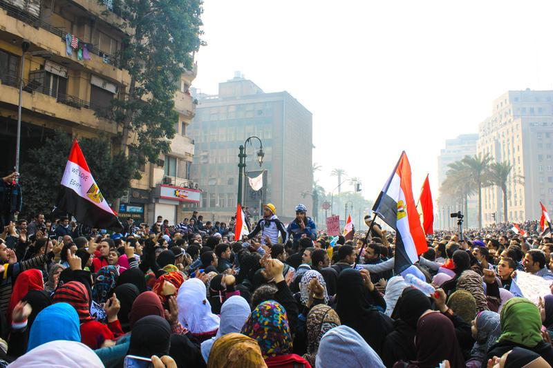 Cairo's Tahrir Square, Egypt, Nov 22, 2011. People were dead and injured because of tear gas, rubber bullets of riot police.