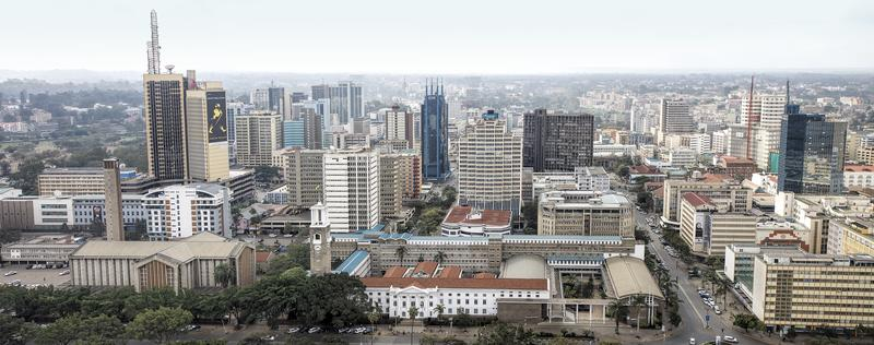 Central business district and skyline of Nairobi. Nairobi is the capital and largest city of Kenya. August 11, 2013