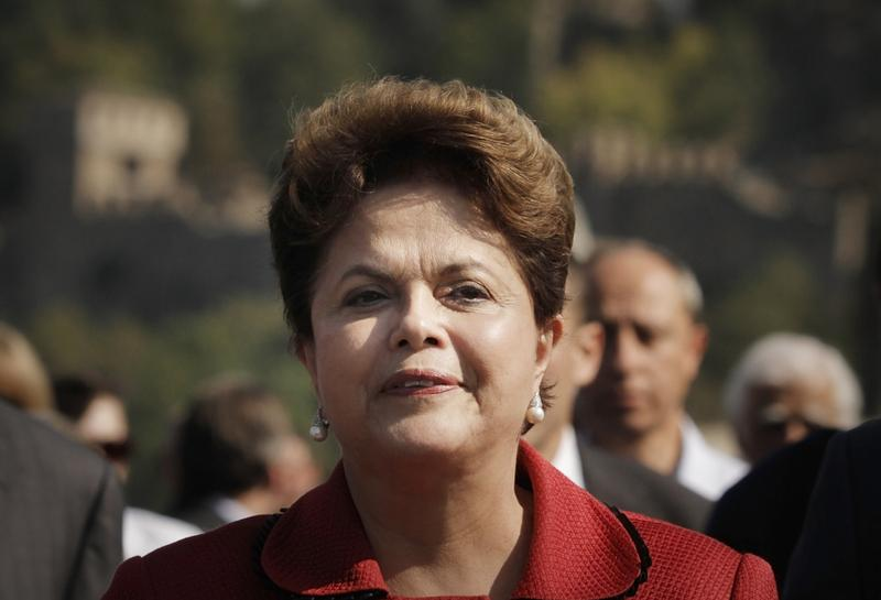 Brazil's President Dilma Vana Rousseff, who is of Bulgarian descent, smiles as she visits the town of Veliko Tarnovo, Bulgaria, on October 6, 2011.