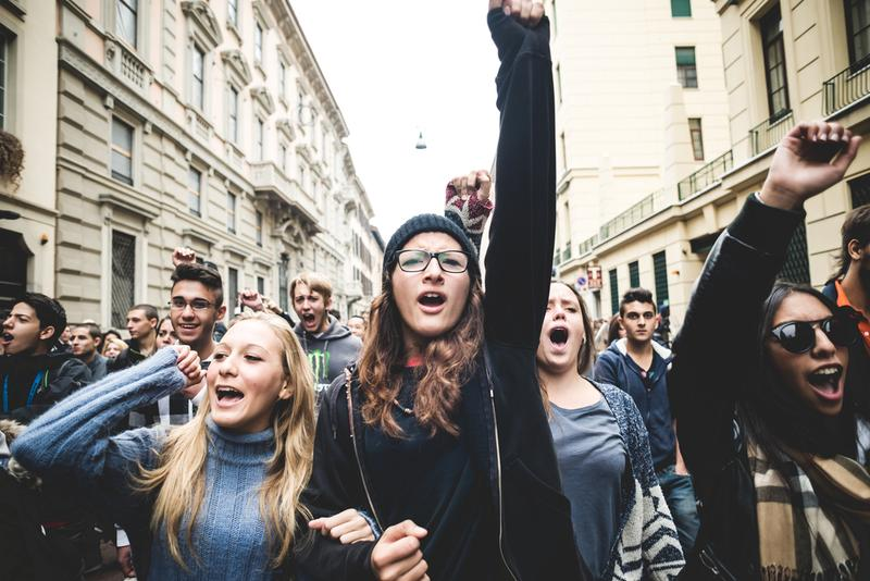 MILAN, ITALY - OCTOBER 4: Students manifestation held in Milan on October, 4 2013.