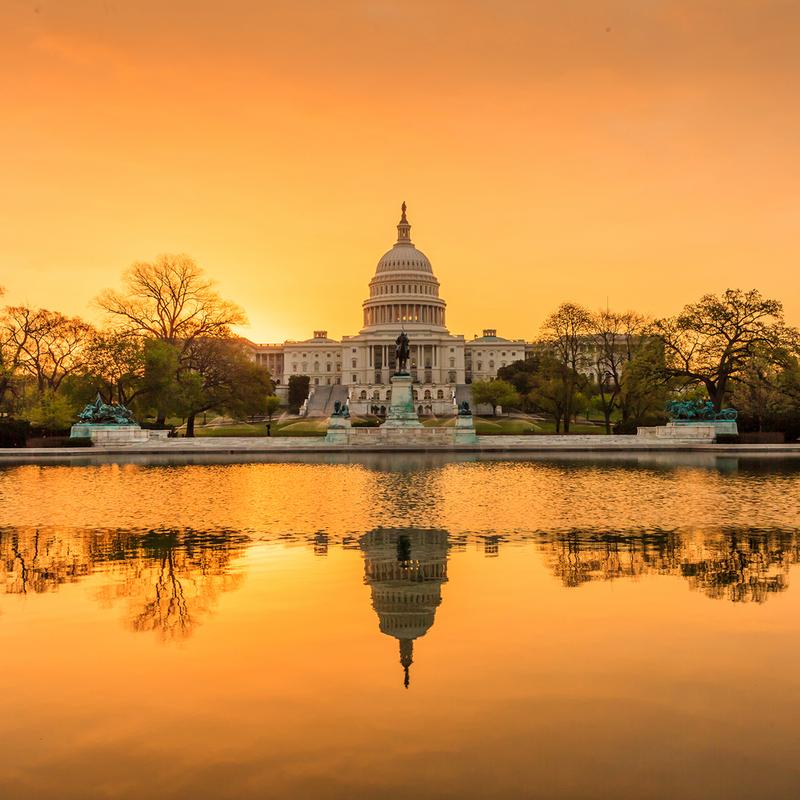 The United States Capitol building in Washington D.C. at sunrise.
