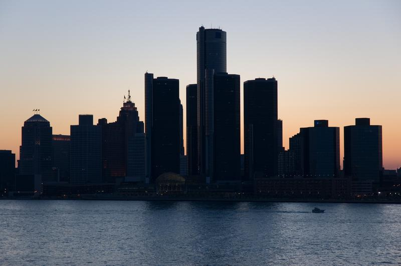 City of Detroit skyline, taken from Windsor Ontario at dusk.
