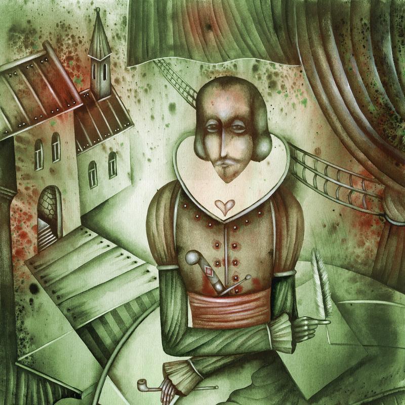 Artist depiction of William Shakespeare.