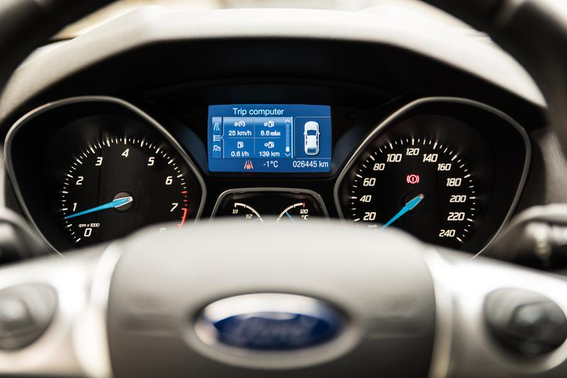 Close up of Ford Focus compact car dashboard. November 27, 2014