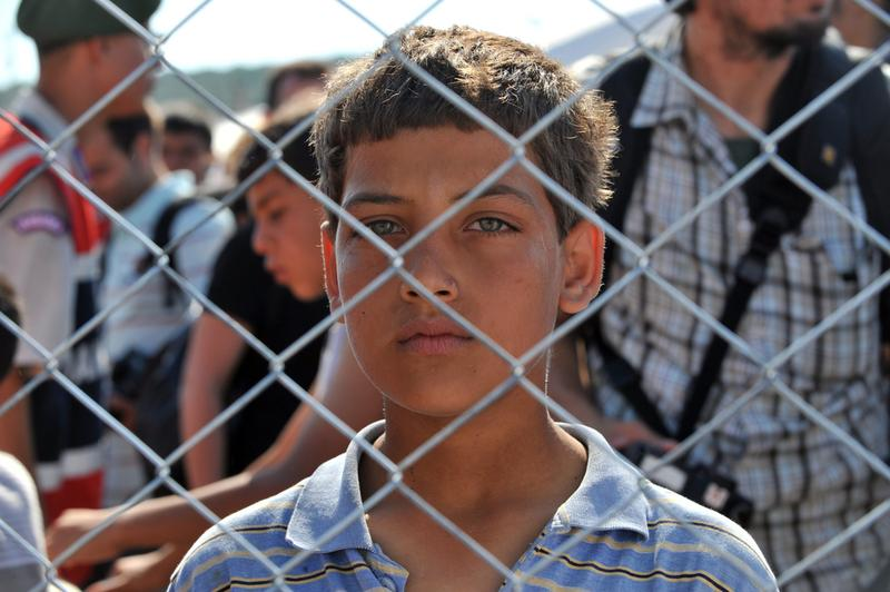 Unidentified Syrian boy in refugee camp in Turkey on June 18, 2011 on the Turkish-Syrian border