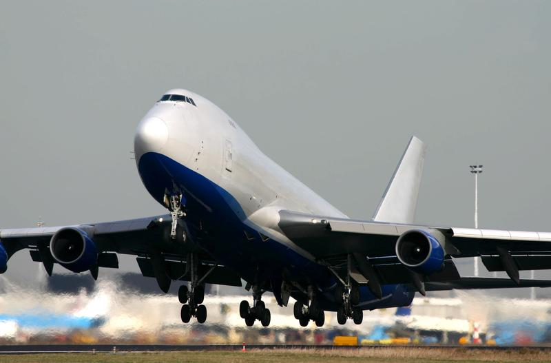 A Boeing 747 taking off.