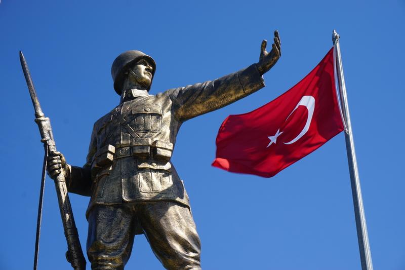 Turkish Soldier Statue on April 17, 2015 in Istanbul.
