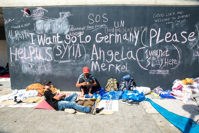 Syrian refugees demand help from Germany written on a wall at the Train Station Keleti Palyudvar on September 04, 2015 in Budapest, Hungary.