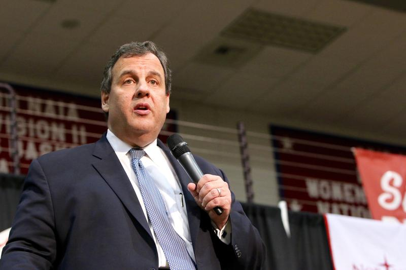 ORANGE CITY, IOWA - OCTOBER 30, 2015: Presidential Candidate, Governor Chris Christie of New Jersey, speaks at a Republican political rally.