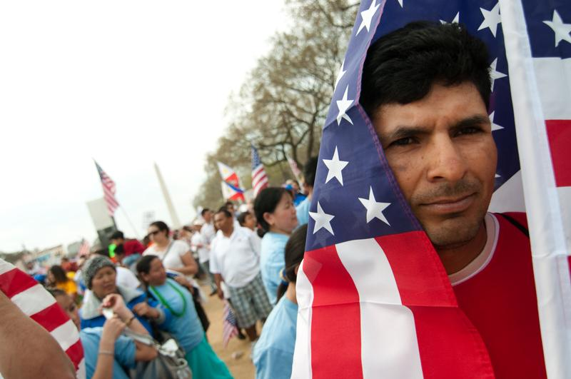 Some 200,000 immigrants' rights activists flood the National Mall on March 21, 2010 in Washington D.C.