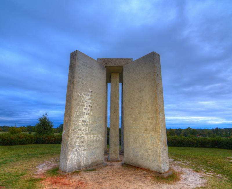 "The Georgia Guidestones, occasionally referred to as ""American Stonehenge,"" October 12, 2011 in Elbert, GA. The inscription is of 10 principles in 8 different langauges."