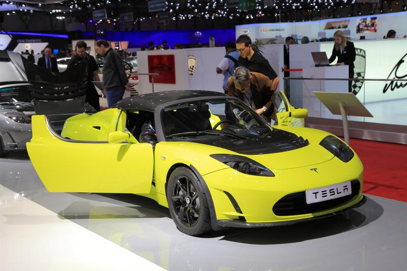 A Tesla Model S car on display at 82th International Motor Show Palexpo-Geneva on March 8, 2012 in Geneva, Switzerland.