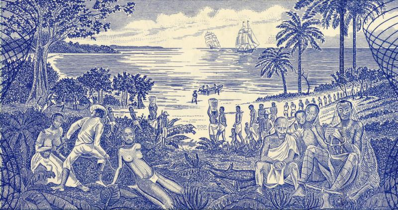 GUINEA BISSAU - CIRCA 1990: Slave Trade Scene on 500 Pesos 1990 Banknote from Guinea Bissau