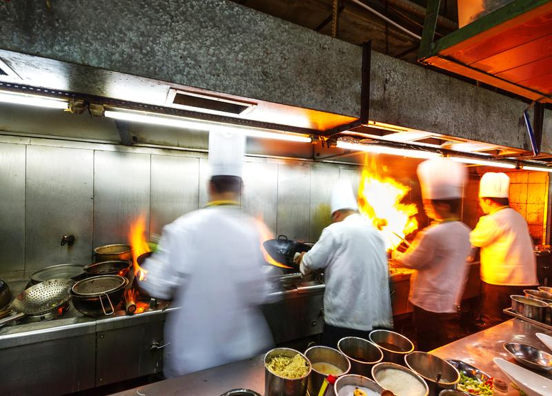 Chefs in a restaurant kitchen