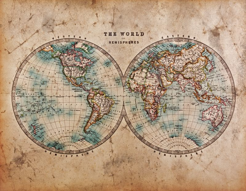 A world map dated from the mid 1800s showing Western and Eastern Hemispheres with hand colouring