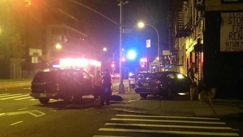 A car on the sidewalk, after crashing into a building on the Lower East Side.