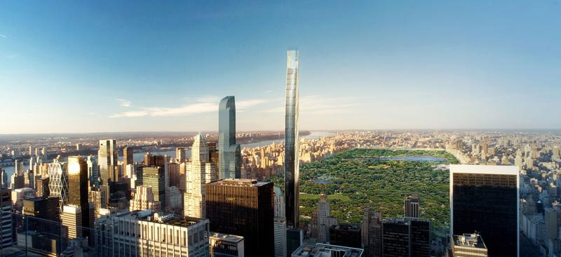 A computer rendering of a super-slender tower planned for 111 W. 57th Street