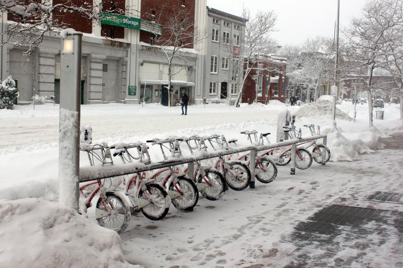A Capital Bikeshare station in the snow