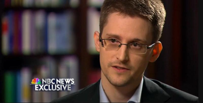 A screen shot of Edward Snowden's NBC interview.