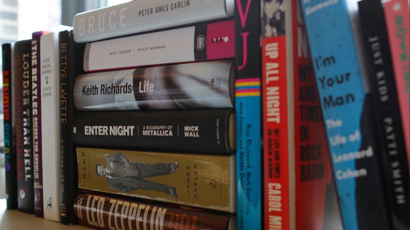 A pile of music books on the Soundcheck bookshelf.