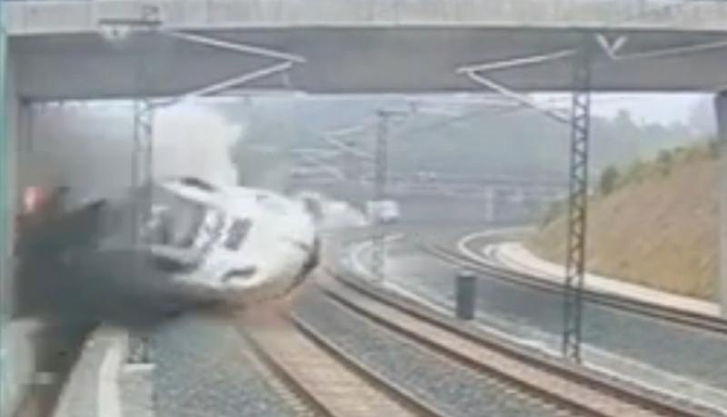 The moment of impact. A Spanish high-speed train crashes, killing dozens.