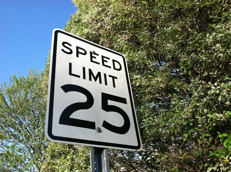 A 25-mile-per-hour speed limit sign.