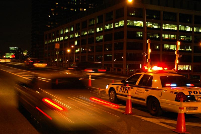 NYPD on the lookout for speeding drivers at the base of the Brooklyn Bridge