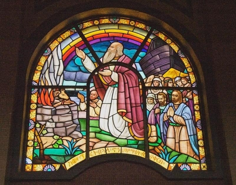 Stained glass window in the Holy Trinity Cathedral, Addis Ababa, Ethiopia.