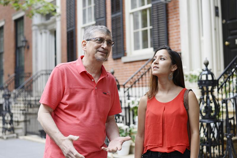 Sumitra G.C., right, said her calculus teacher, Marius Cosma, was her favorite teacher and a mentor at Grover Cleveland High School in Queens.