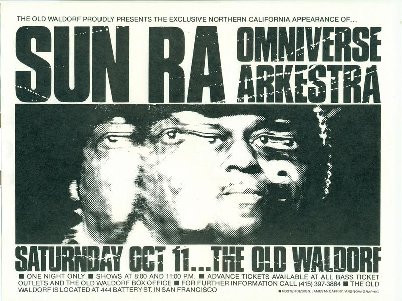 Sun Ra Concert Poster from the Old Waldorf in San Francisco, 1980