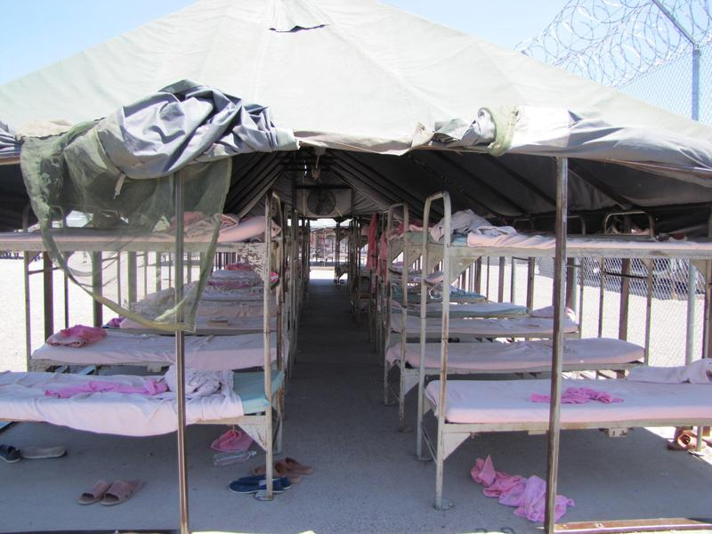 The bunks inside one of the tents of the women's side of Tent City.