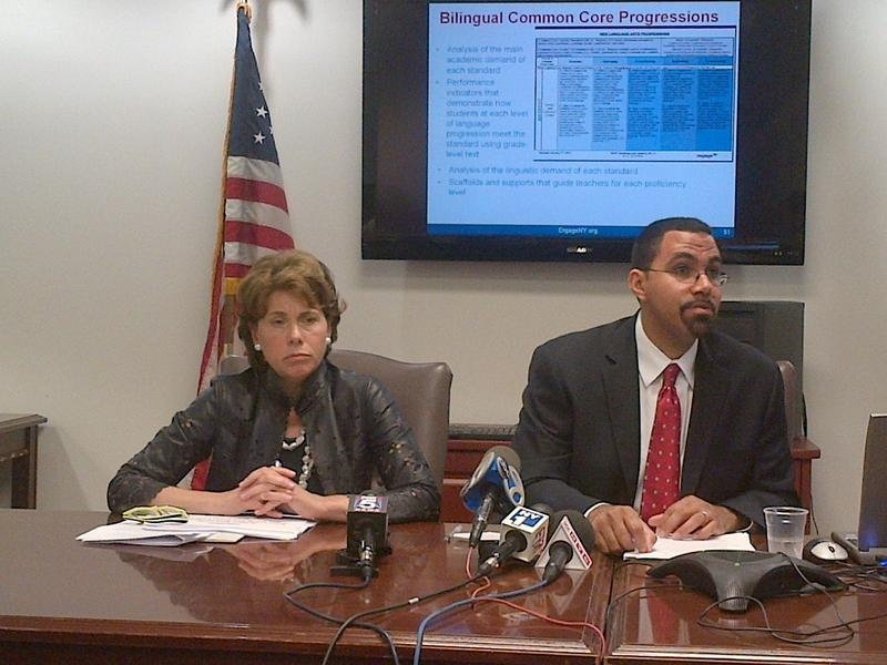 Board of Regents Chancellor Merryl Tisch, left, and Education Commissioner John King release 2013 state test scores.