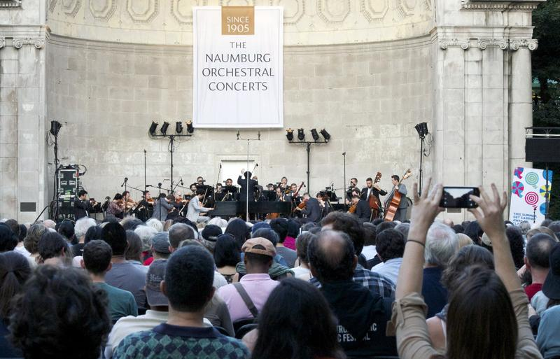 The Knights with soloist Timo Andres perform a reworking of Mozart's Piano Concerto No. 26 'Coronation' at the Naumburg Bandshell in Central Park.