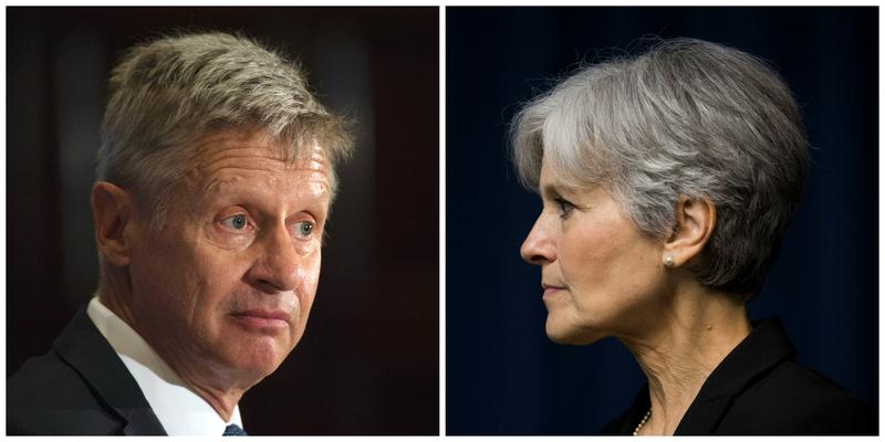 Third party nominees, Libertarian Party's Gary Johnson and the Green Party's Jill Stein.